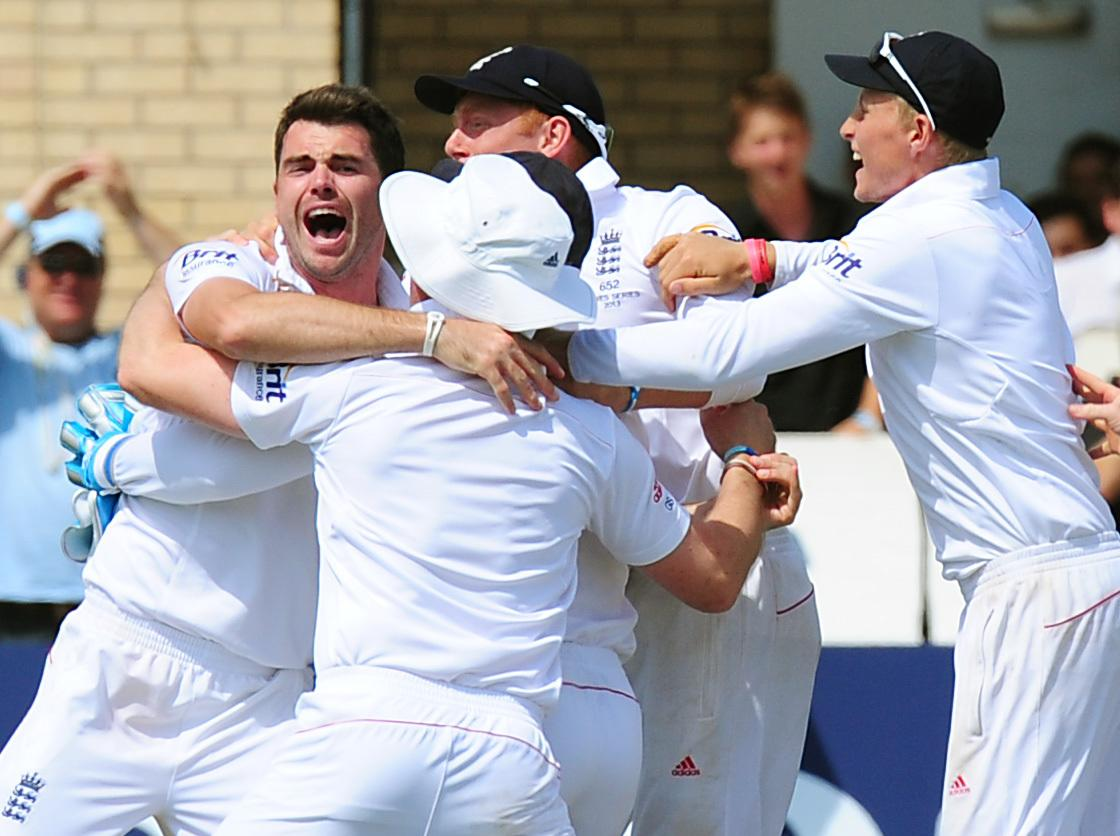 England's James Anderson celebrates after England beat Australia on day five of the First Investec Ashes Test match at Trent Bridge, Nottingham.