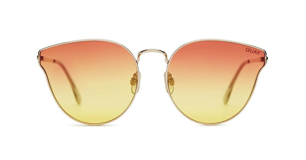 "<p>From perfect aviators to colorful and fun frames, the Australian label has plenty of options that look luxe but come with affordable price tags. Jennifer Lopez, Lady Gaga and Jasmine Sanders are amongst some of the brand's biggest  A-list fans. </p><p><strong>Quay Australia</strong> sunglasses, $60, <a rel=""nofollow"" href=""https://www.quayaustralia.com/collections/new-arrivals/products/all-my-love"">quayaustralia.com</a>. </p>"