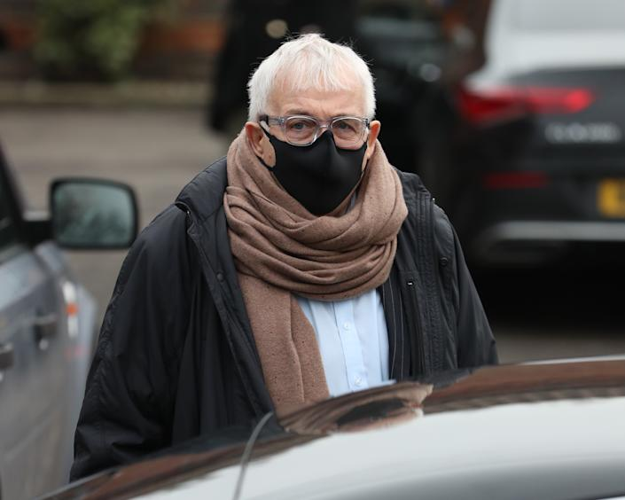 LONDON, ENGLAND - JANUARY 08: Christopher Biggins during the funeral of Dame Barbara Windsor at Golders Green Crematorium on January 08, 2021 in London, England. Actress Dame Barbara Windsor died on 10 December 2020  after a long battle with Alzheimer's. (Photo by Neil Mockford/Getty Images)
