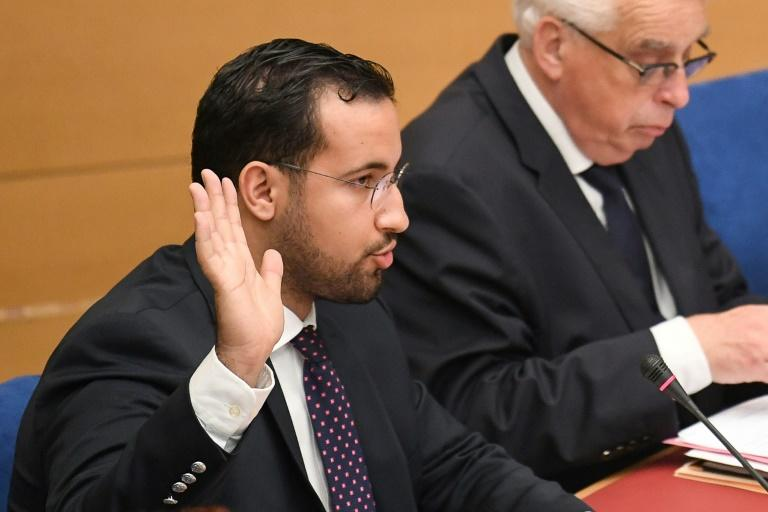 Former Elysee senior security officer Alexandre Benalla being sworn ahead of testifying before a French Senate inquiry