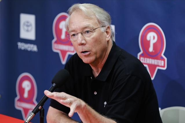 Philadelphia Phillies president Andy McPhail speaks during a news conference after a spring training baseball workout Friday, Feb. 14, 2020, in Clearwater, Fla. (AP Photo/Frank Franklin II)