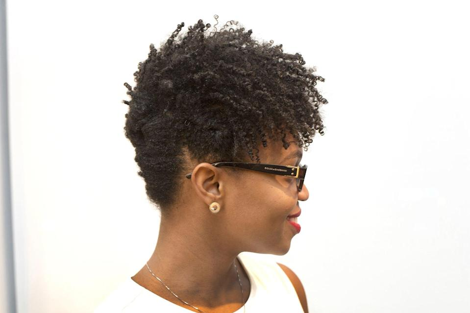 <p>If your hair is continually flopping forward instead of standing up, then use Dickey's trick: take a wide-tooth comb (or hair pick) and lift hair at the roots. Then, spritz just the roots with a hair spray, like <span>Hair Rules Volumizing Hair Spray</span> ($12).</p>