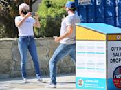 <p>Cobie Smulders and husband Taran Killam cast their ballots on Wednesday in L.A., and take photos to commemorate the moment.</p>