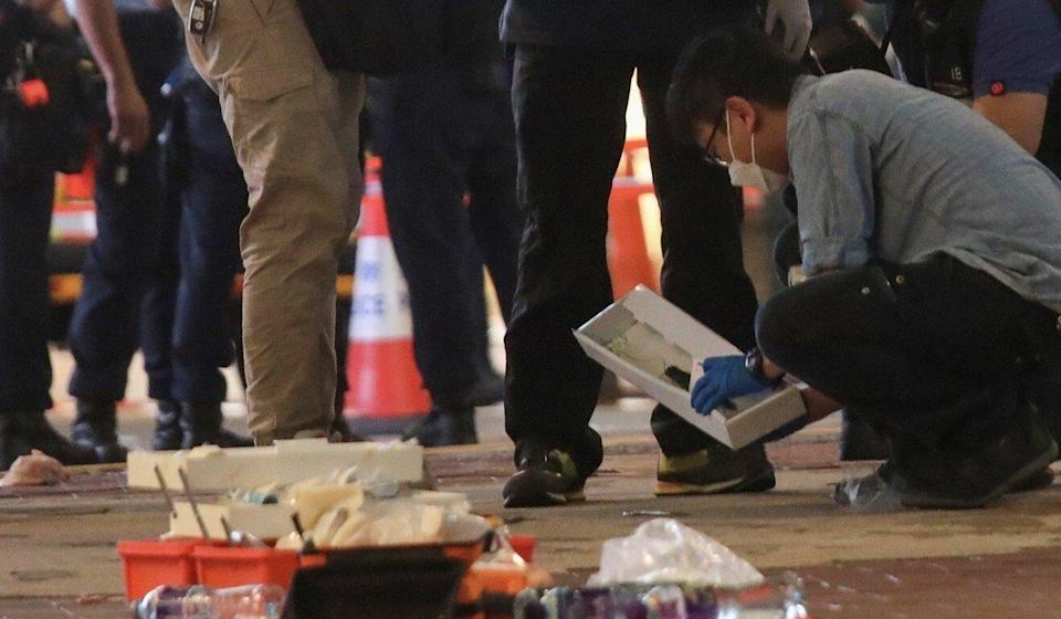 The crime scene outside Sogo in Causeway Bay in July, where a man stabbed a police officer and killed himself after the attack. Photo: Photo: Xiaomei Chen