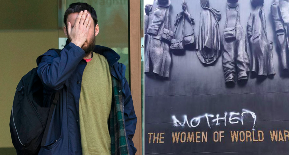 Joseph O'Malley wrote the word 'mother' on the Monument to the Women of the Second World War (PA)
