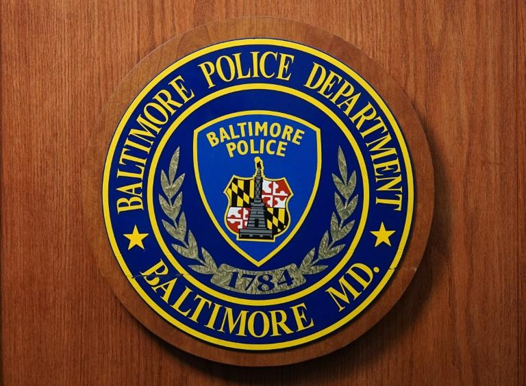 The seal of the Baltimore Police Department at police headquarters