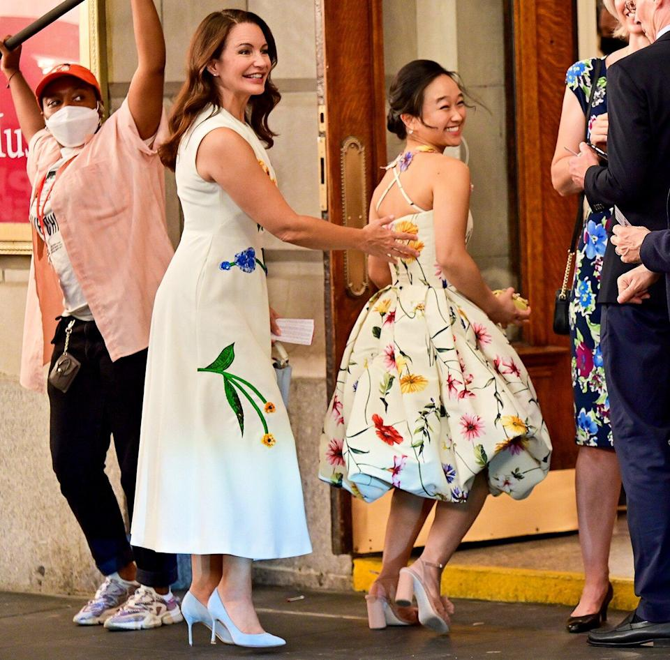 """Kristin Davis seen on the set of """"And Just Like That..."""" the follow up series to """"Sex and the City"""" at the Lyceum Theater on July 24, 2021 in New York City."""