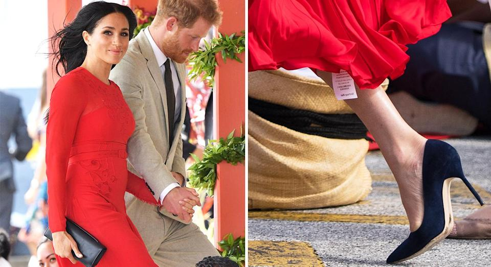 Meghan Markle walked out with the label still attached to her Self Portrait dress. [Photo: Getty]