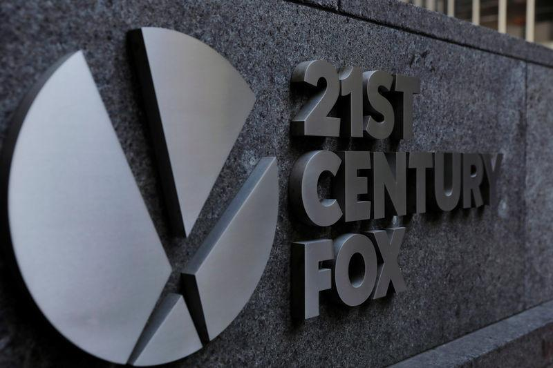 The 21st Century Fox logo is displayed on the side of a building in midtown Manhattan in New York