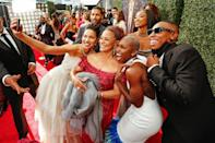 <p>Some of the Emmys biggest names — including, from left, Jurnee Smollett, Cynthia Erivo and Lena Waite — snap a selfie with Governors Award honoree Debbie Allen on the red carpet at the Sept. 19 Emmy Awards in L.A.</p>