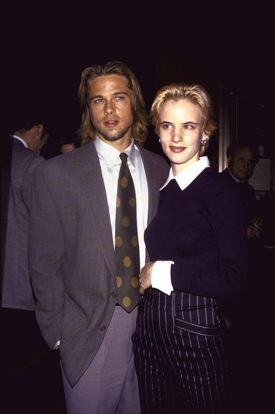 <p>Brad and Juliette Lewis dated for four years back when he was 17 years old and she was 27. They matched their bouffant locks to perfection. Photo: Getty Images </p>