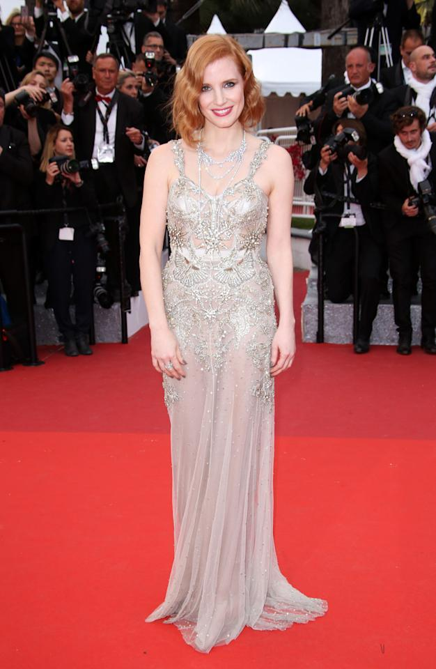<p>Looking resplendent in a heavily embellished silver gown, Jessica was easily the best dressed star of the second night. <i>[Photo: Rex]</i></p>