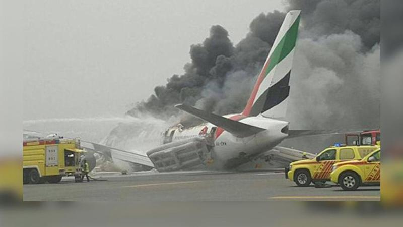 An Emirates plane, with 300 people on board, crash-landed at Dubai Airport after the pilot tried to abort the landing on Wednesday.