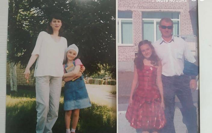 Sofya Sapega with her mother and step-father as a young girl