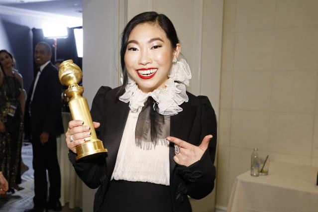 wkwafina in the press after winning the award for Best Performance by an Actress in a Motion Picture - Musical or Comedy for The Farewell. (Photo by Trae Patton/NBC/NBCU Photo Bank via Getty Images)