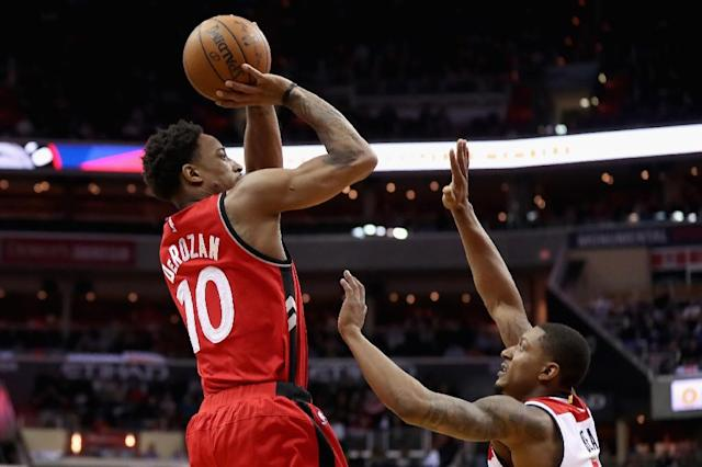 DeMar DeRozan #10 of the Toronto Raptors, pictured in March 2017, extended his own team record with his 32nd game this season with at least 30 points (AFP Photo/Rob Carr)