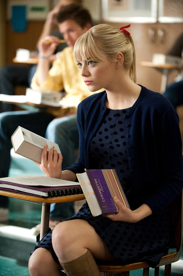 """Emma Stone in Columbia Pictures' """"<a href=""""http://movies.yahoo.com/movie/the-amazing-spiderman/"""">The Amazing Spider-Man</a>"""" - 2012"""