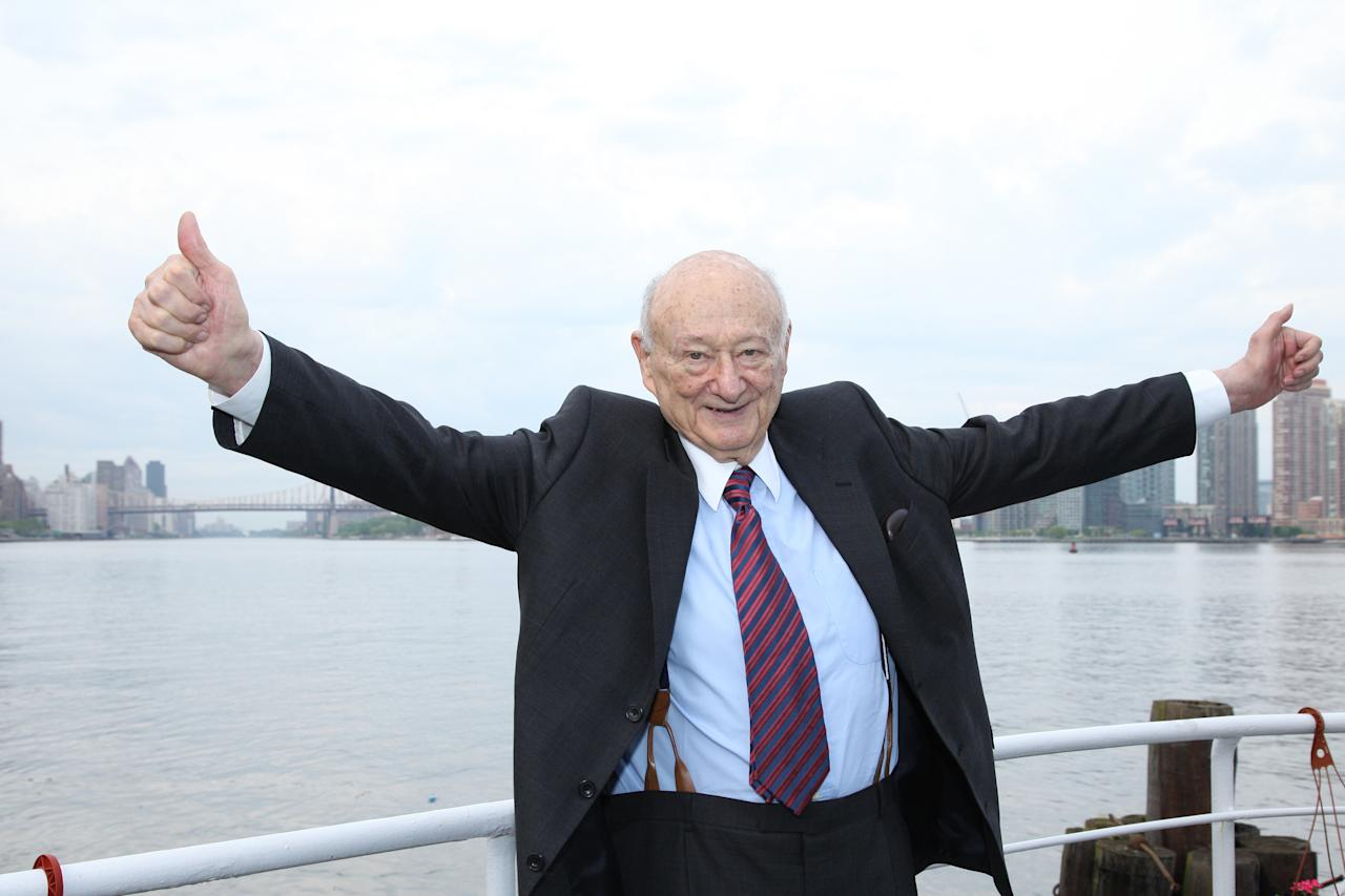 NEW YORK, NY - MAY 19:  Ed Koch celebrates at the renaming of the Queensboro Bridge in his honor at The Water Club Restaurant on May 19, 2011 in New York City.  (Photo by JP Yim/Getty Images)