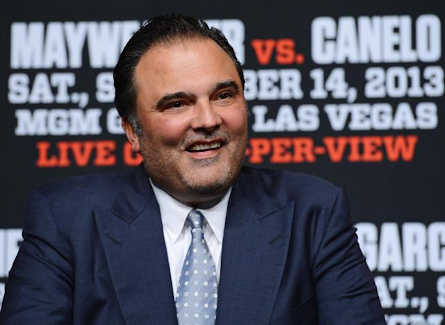 LAS VEGAS, NV - SEPTEMBER 11: Golden Boy Promotions CEO Richard Schaefer smiles during the final news conference for the bout between Floyd Mayweather Jr. and Canelo Alvarez at the MGM Grand Hotel/Casino on September 11, 2013 in Las Vegas, Nevada. The fighters will meet in a WBC/WBA 154-pound title fight on September 14 in Las Vegas. (Photo by Ethan Miller/Getty Images)
