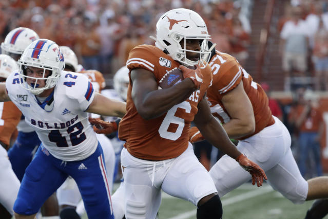 FILE - In this Saturday, Aug. 31, 2019 file photo, Texas wide receiver Devin Duvernay (6) during the first half of an NCAA college football game against Louisiana Tech in Austin, Texas. Texas senior wide receiver Devin Duvernay is having his best year after a position change has made him quarterback Sam Ehlingers top target. Duvernay has 45 catches this season and his nine per game is best in the nation heading into No. 11 Texas Saturday, Oct. 12, 2019 matchup against No. 6 Oklahoma. (AP Photo/Eric Gay, File)