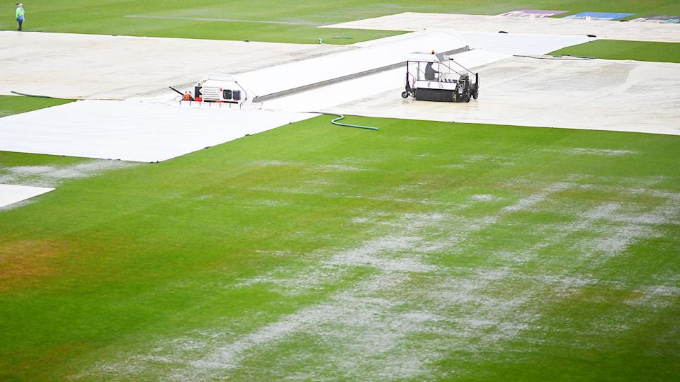 The first day of the ICC World Test Championship final, pictured here being abandoned without a ball being bowled.