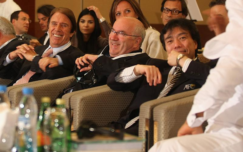Carlo Tavecchio (C) is seen during the opening session of the third Dubai International Sports Conference on May 31, 2008