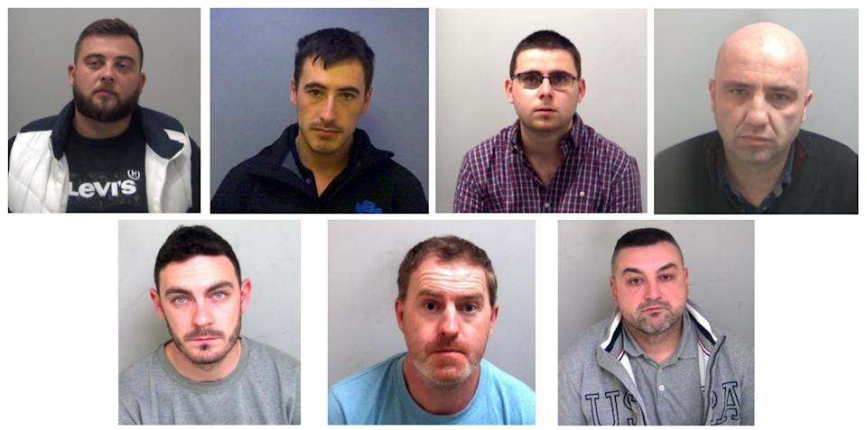 (Top row, left to right) Alexandru-Ovidiu Hanga, Christopher Kennedy, Eamonn Harrison and Gheorghe Nica, (bottom row, left to right) Maurice Robinson, Ronan Hughes and Valentin Calota, who have all been jailed at the Old Bailey in London. (PA)