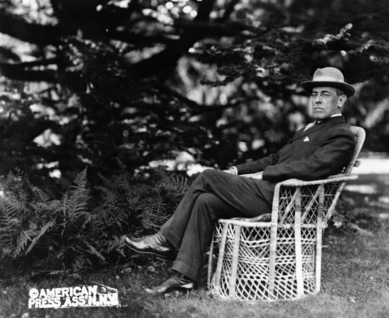 Portrait of American President Woodrow Wilson seated outdoors, circa 1920. (Photo by Fotosearch/Getty Images).
