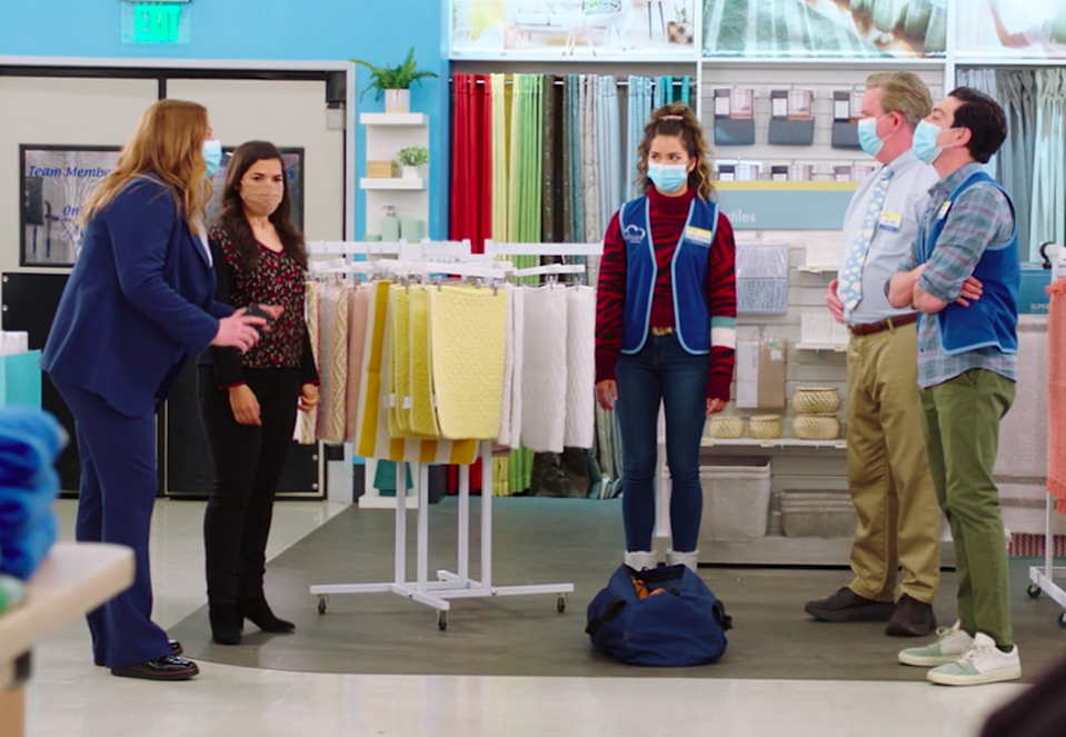 """Cloud 9 employees from """"Superstore"""" wearing masks"""