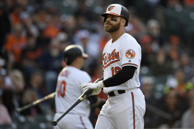 Baltimore Orioles' Chris Davis walks toward the dugout after he struck out during the sixth inning of the team's baseball game against the New York Yankees, Thursday, April 4, 2019, in Baltimore. The Yankees won 8-4.(AP Photo/Nick Wass)