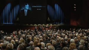 More than 1,000 people were expected at a memorial in Calgary for former Alberta premier Peter Lougheed.