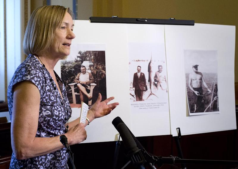 Founder and co-chair of the Finca Vigía Foundation Jenny Phillips discusses efforts to preserve documents belonging to Ernest Hemingway that have been housed for decades at the author's former estate in Cuba, on Capitol Hill in Washington, Monday, May 6, 2013. (AP Photo/J. Scott Applewhite)