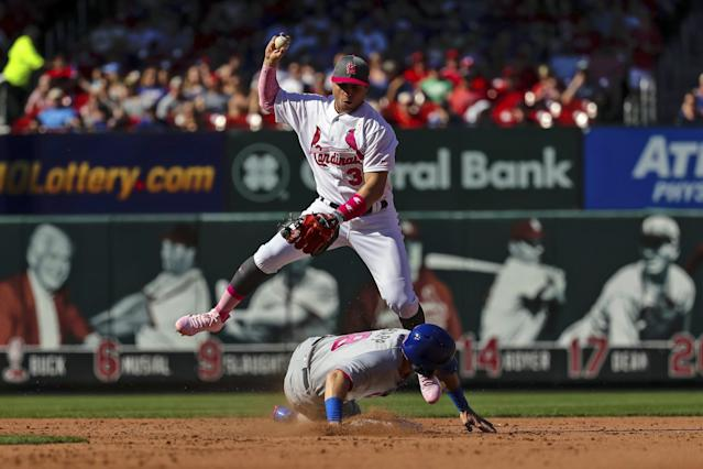 Cubs rookie over-slid the bag on Saturday and was ruled out by umpire Mike Everitt. (AP)