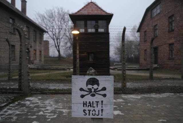"<p>A sign reading ""Stop!"" in German and Polish is seen at the former Nazi German concentration and extermination camp Auschwitz, during the ceremonies marking the 73rd anniversary of the liberation of the camp and International Holocaust Victims Remembrance Day, in Oswiecim, Poland, Jan. 27, 2018. (Photo: Kacper Pempel/Reuters) </p>"