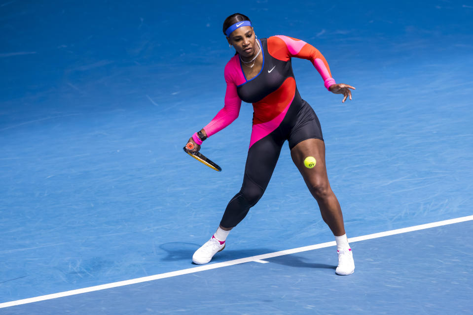 MELBOURNE, VIC - FEBRUARY 08: Serena Williams of the United States of America returns the ball during round 1 of the 2021 Australian Open on February 8 2020, at Melbourne Park in Melbourne, Australia. (Photo by Jason Heidrich/Icon Sportswire via Getty Images)