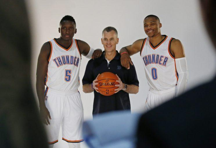 Russell Westbrook's offense and Victor Oladipo's defense are a balancing act for Billy Donovan. (AP)