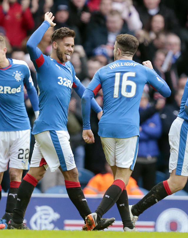 Football Soccer - Rangers v St Mirren - Ladbrokes Scottish Championship - Ibrox - 27/2/16 Rangers' Harry Forrester (L) celebrates scoring their first goal against St Mirren with Andrew Halliday Mandatory Credit: Action Images / Graham Stuart Livepic EDITORIAL USE ONLY.