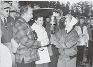 <p>Spectators got the chance to participate in an Olympic tradition as the torch was passed through the crowd at the Winter Olympic Games at Squaw Valley in 1960. The ceremony was also notable as it was produced by Walt Disney, who was the chair of the pageantry committee. </p>