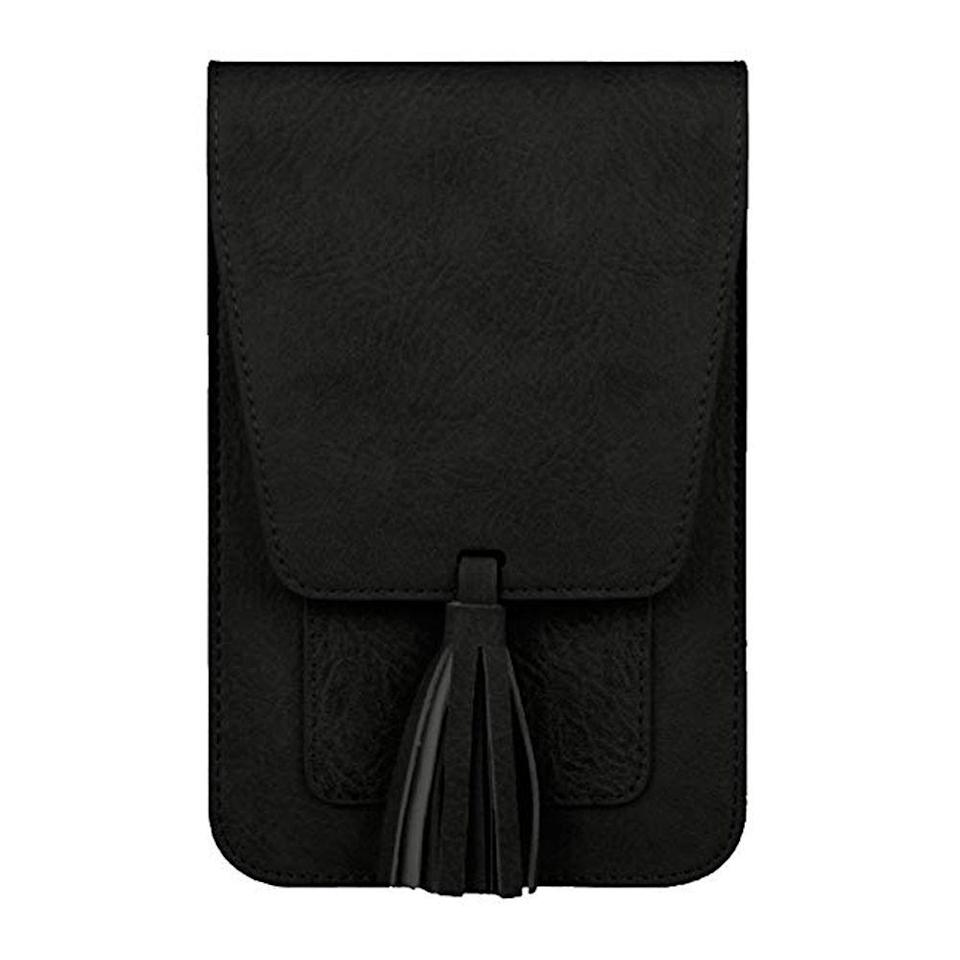 """<p><strong>K. Carroll Accessories</strong></p><p>amazon.com</p><p><strong>$9.99</strong></p><p><a href=""""https://www.amazon.com/dp/B07CS9LRZ1?tag=syn-yahoo-20&ascsubtag=%5Bartid%7C2089.g.291%5Bsrc%7Cyahoo-us"""" rel=""""nofollow noopener"""" target=""""_blank"""" data-ylk=""""slk:Shop Now"""" class=""""link rapid-noclick-resp"""">Shop Now</a></p><p>Save their back by gifting them this compact crossbody bag. Its has RFID-protected card slots to protect from theft, and can fit sunglasses, a phone, lipstick, and more.</p>"""