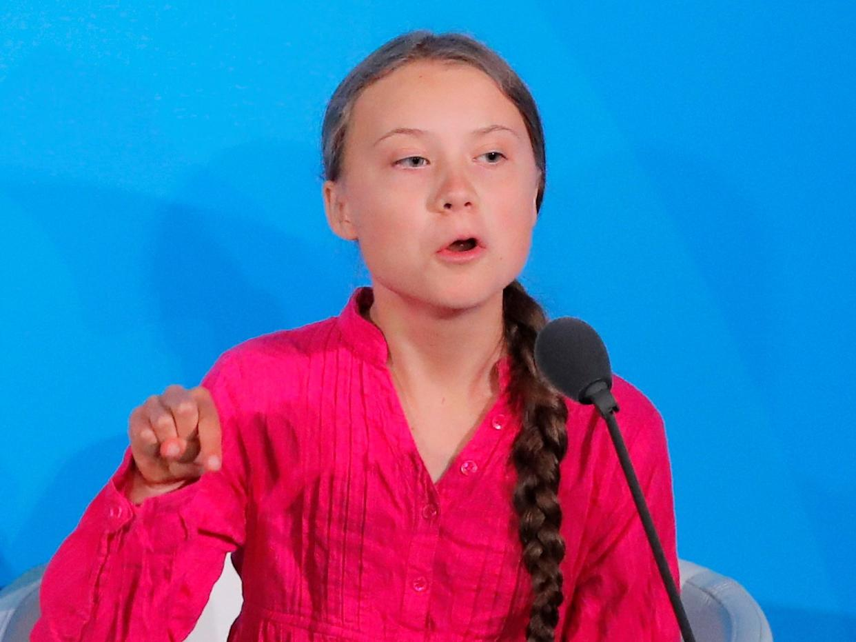 FILE PHOTO: 16-year-old Swedish Climate activist Greta Thunberg speaks at the 2019 United Nations Climate Action Summit at U.N. headquarters in New York City, New York, U.S., September 23, 2019. REUTERS/Lucas Jackson/File Photo