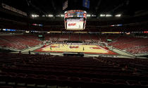 Wisconsin plays Eastern Illinois during the first half of an NCAA college basketball game at the Kohl Center on Wednesday, Nov. 25, 2020, in Madison, Wis., with no fans in attendance. (AP Photo/Andy Manis)