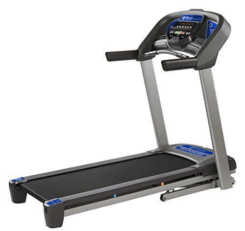 """<p><strong>Horizon Fitness</strong></p><p>amazon.com</p><p><strong>$649.99</strong></p><p><a href=""""https://www.amazon.com/dp/B07FPRYTSK?tag=syn-yahoo-20&ascsubtag=%5Bartid%7C10055.g.37788544%5Bsrc%7Cyahoo-us"""" rel=""""nofollow noopener"""" target=""""_blank"""" data-ylk=""""slk:Shop Now"""" class=""""link rapid-noclick-resp"""">Shop Now</a></p><p>The Horizon Fitness T101 Treadmill falls in the middle of the price spectrum, but<strong> it throws in extra features like a USB port, water bottle holder, fan and ultra-quiet motor with a lifetime warranty,</strong> according to the manufacturer. Though this treadmill does away with a fancy display, it does include a built-in device holder for your tablet or phone along with integrated speakers. This means that you can connect your device to the treadmill's speakers via Bluetooth and listen to music or stream your favorite show while working out, no headphones needed. </p><p>This treadmill's running deck hits that sweet spot of 4.6 feet, which is big enough for a comfy ride yet not too big to overtake a space. It's a capable machine that can incline up to 10 percent as well as go up to 10 MPH. But if you're looking for a folding treadmill that can go faster, has a wider incline range, and comes with a larger running surface, you can upgrade to the <a href=""""https://www.amazon.com/Horizon-Fitness-Advanced-Running-Treadmill/dp/B07K2411NW/?tag=syn-yahoo-20&ascsubtag=%5Bartid%7C10055.g.37788544%5Bsrc%7Cyahoo-us"""" rel=""""nofollow noopener"""" target=""""_blank"""" data-ylk=""""slk:Horizon T202"""" class=""""link rapid-noclick-resp"""">Horizon T202 </a>or T303. For each option, a FeatherLight hydraulic system makes folding the treadmill less cumbersome, and when you're ready to use it again, the running belt will gently float to the floor without crashing down. </p><p><strong>Running belt:</strong> 55"""" (4.6 feet)<strong><br>Dimensions: </strong>70"""" L x 34"""" W x 55"""" H<strong><br>Weight capacity:</strong> 300 lb. <br></p>"""