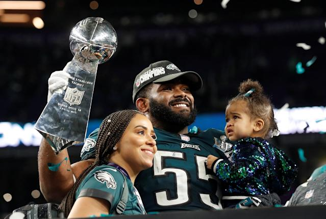 <p>Philadelphia Eagles' Brandon Graham celebrates with his family and the Vince Lombardi Trophy after winning Super Bowl LII REUTERS/Kevin Lamarque </p>
