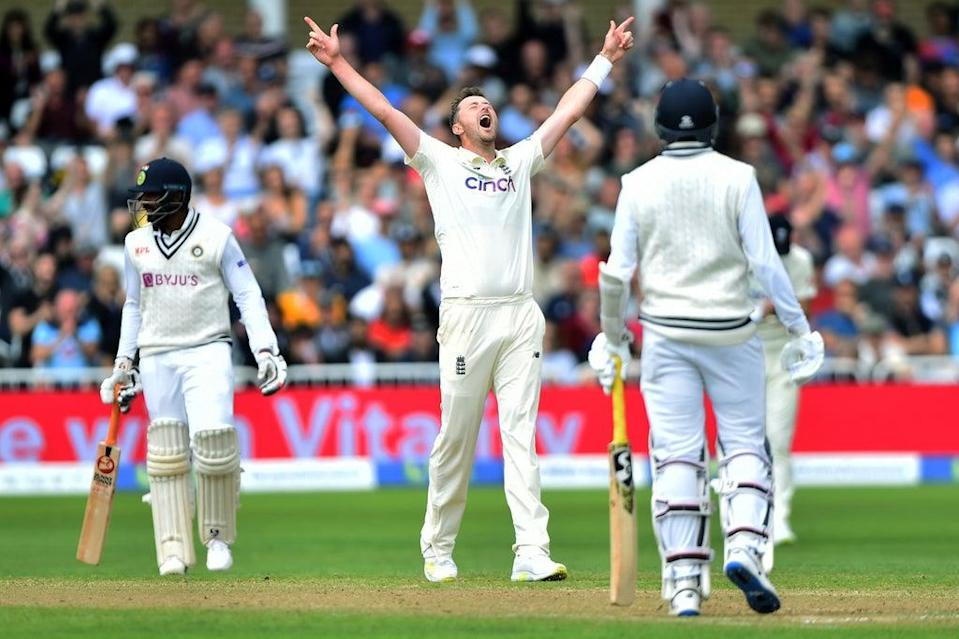 Ollie Robinson celebrates his fifth wicket  (Getty Images)