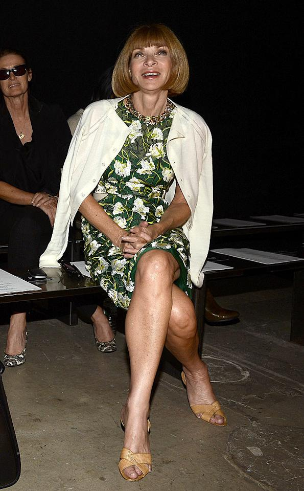 Fashion Week's queen bee, Anna Wintour, <br>claimed her front row throne at the Narciso Rodriguez show. The normally stoic Vogue editor-in-chief cracked a rare smile as she checked out the bright and breezy couture from the Cuban-American designer. (9/11/12)