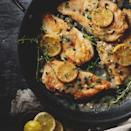 """<p>Tenderized chicken breasts are cooked with lemon slices and served in a mouthwatering sauce of garlic, wine and lemon juice in this chicken piccata dinner. <a href=""""http://www.eatingwell.com/recipe/266282/chicken-piccata/"""" rel=""""nofollow noopener"""" target=""""_blank"""" data-ylk=""""slk:View recipe"""" class=""""link rapid-noclick-resp""""> View recipe </a></p>"""
