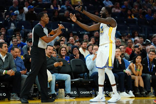 Draymond Green christened Chase Center with its first Warriors ejection on Monday night vs. the Utah Jazz. (Photo by Daniel Shirey/Getty Images)