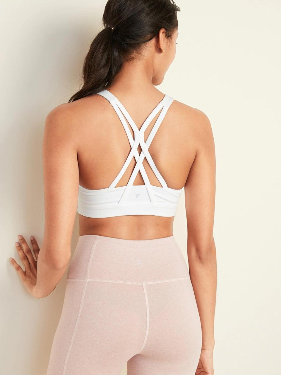 <p>This <span>Old Navy Medium Support Strappy Sports Bra</span> ($23) is the perfect option for almost any type of workout.</p>