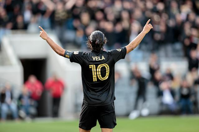 Carlos Vela and LAFC advanced in the CONCACAF Champions League and won their MLS opener. (Photo by Michael Janosz/ISI Photos/Getty Images)