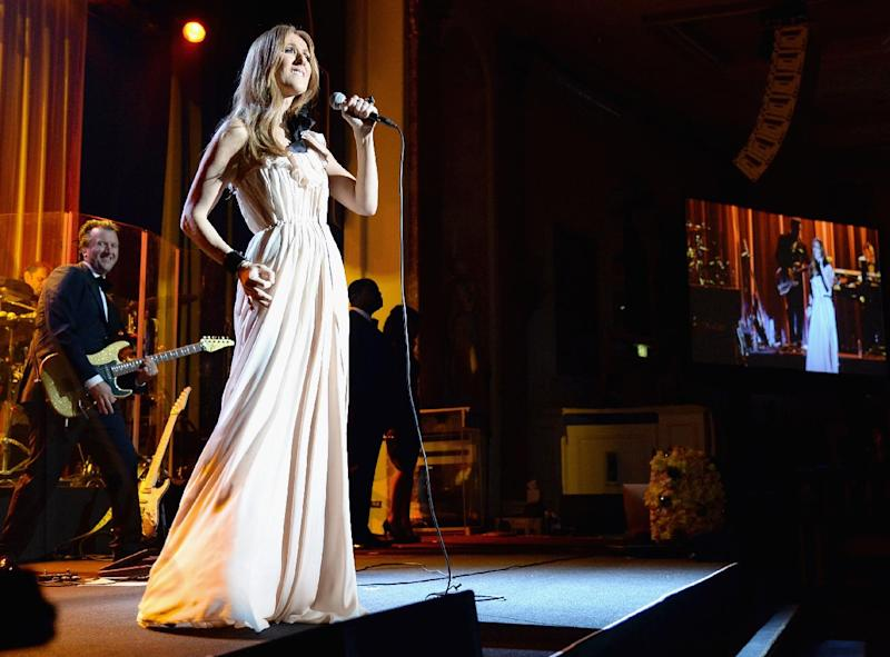 Celine Dion performs at the Beverly Wilshire Four Seasons Hotel on January 22, 2014 in Beverly Hills, California (AFP Photo/Jason Merritt)